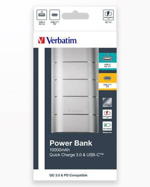 Baterie Externa Verbatim10000 Qc3 Metal Striat