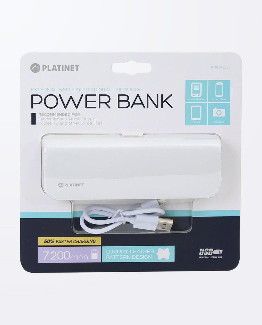 Baterie Externa Platinet Power Bank Leather 7200 Alb
